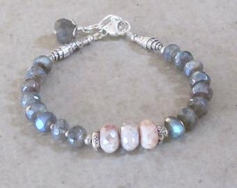 Labradorite Mystic Pink Sapphire Bracelet Sterling Silver DJStrang Spectrolite Chatoyant Bead Boho Cottage Chic Color Flashing Blue Green