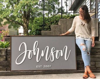 OVERSIZED - Personalized Family Sign  - Digital Proof Included! - Established Sign - Wood Sign - Rustic Sign - Fixer Upper