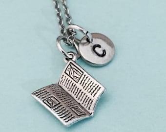 Newspaper necklace, newspaper charm, city news, personalized necklace, initial necklace, initial charm, monogram