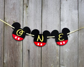 Mickey Mouse first birthday highchair banner-Mickey Mouse highchair banner-Mickey highchair decorations-Mickey one Banner -cake smash banner