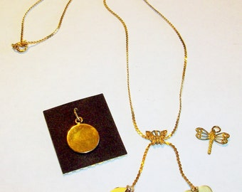 Vintage NEW Gold Filled Charm Necklace with Removable Charms In 4 Designs  Circa 1970