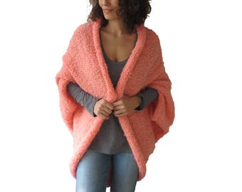 Plus Size Hand Knitted Pink Wool Cardigan