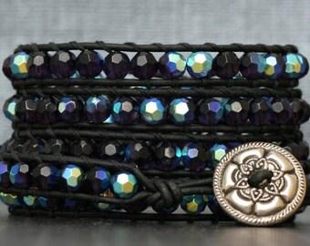 wrap bracelet- purple aurora borealis crystals on black leather- beaded leather - boho glam