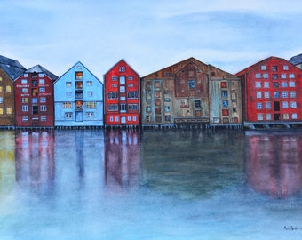 """Nordic Reflections,fine art giclee reproduction of an original watercolor painting by Meike Geisler;15.5"""" x 11""""; norway,reds,blues,browns"""
