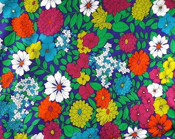 vintage fabric silk floral silk fabric floral fabric mid century retro sewing rainbow sewing fabric yardage fabric by the yard