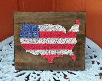 American Flag String Art Patriotic Home Decor in Red White and Blue - Gift for Him
