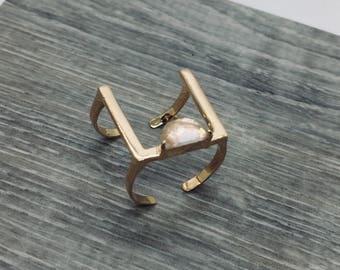 Rose Gold Ring, Minimalist ring, Geometric ring, Rose Quartz, Square ring, Bar ring, Modern ring, Cuff ring, Dainty ring, Adjustable ring