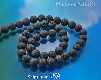Black Lava Stone Beads 6mm, 8mm, 10mm, 12mm, Aromatherapy Beads, Natural Black Lava Round Beads, Essential Oil Diffuser, Lava Beads 15in