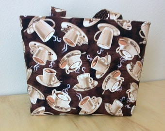 Large Tote, Coffee Cups, Browns, White and Beige, Market Tote, Book Bag, Gift, Handmade, 100% Cotton