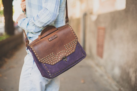 15 inch Sarah Brown Messenger Bag Woman briefcase,Purple 15 inch laptop bag Genuine leather bag, Eyelets Leather Bag