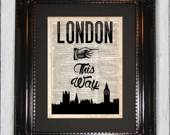London This Way Typogrphic Print, Dictionary Art Print, Upcycled Book Art, Silhouette, dictionary, Wall Hanging, Mixed Media Art