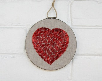Red Heart Wall Art - Hand Stitched Beaded Embroidery Hoop Art - Embroidered Fiber Art - Love Wall Decor - Wedding Decor Cotton Anniversary
