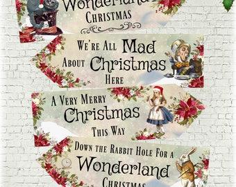 Set of 4 Alice in Wonderland Large Christmas Decoration Arrows