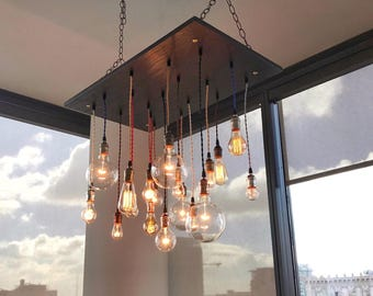 Unique Wood Pendant Chandelier With Nostalgic Bulbs