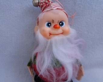 Vintage Mid Century Santa's Elf with a Saw Ornament  HO673