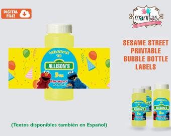 Sesame Street Birthday Printable Bubble Bottle Labels - Personalized Bubble Bottle Label - Sesame Street Favors - Sesame Street Party