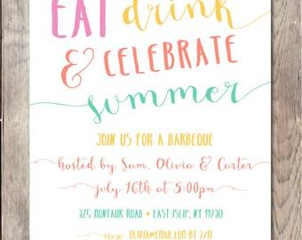 Pool Party Invitation, Summer Party Invitation, Barbecue Invitation, BBQ Invites, Summer BBQ Invitation, Pool Party Invitations, Party [501]