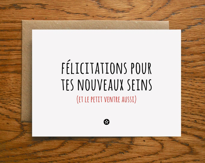 Card Congratulations New Boobs and Pregnancy in French