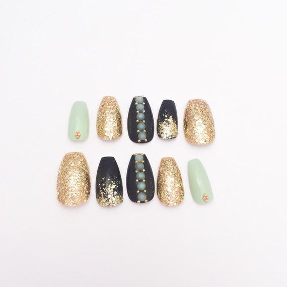 Menta el falso sistema de uñas uñas postizas purpurina oro