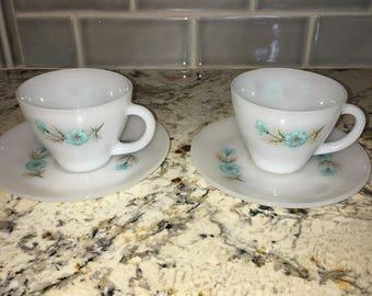 FireKing Bonnie Blue tea cup set