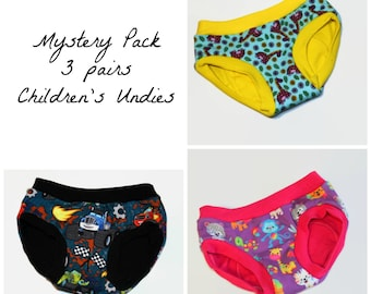Childrens Undies -Mystery Pack - 3 Pairs Custom Made to Order