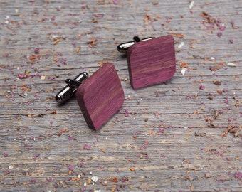 Wood Cufflinks, Rounded Square wooden cuff links, Wedding Cufflinks set, boyfriend gift, cufflinks for men, groomsmen monogrammed cufflinks