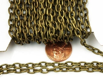 10 ft of Antiqued brass cable chain - 4X6mm unsoldered links