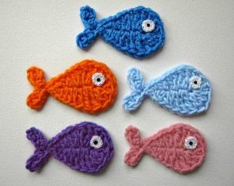 """1pc  4"""" FISH Crochet Applique"""