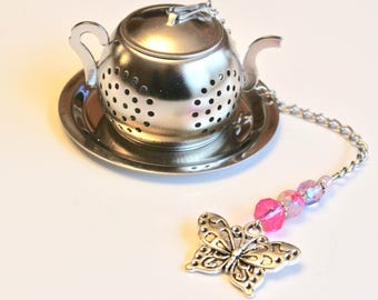 Butterfly Tea Infuser with Pink & Lavender Beads, Teapot Tea Ball Infuser, Beaded Mesh Tea Ball, Mad Hatter Tea Party,  High Tea, Tea Gift