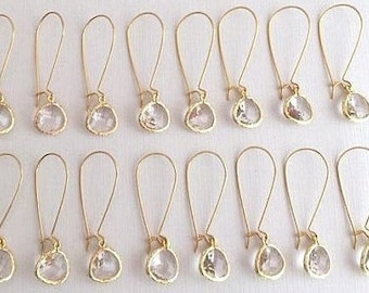 10% OFF SET of 8 Wedding Jewelry Gold Crystal Drop Earrings, Clear Earrings, Bridesmaid Earrings, Bridal Earrings, Wedding Earrings,Delicate