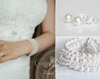 Bridal Jewelry Set, White Swarovski Pearl Bridal Jewelry Set, Pearl Earrings Bracelet Set,  art. e09-b11