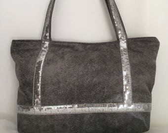 Glitter - small size version grey faux leather handbag