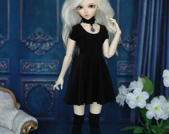 Black dress with stockings for MINIFEE, Narae, Unoa MSD, BJD 1/4 size