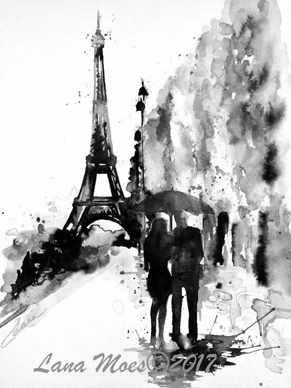 Romantic Paris Art Parisian Vacation Watercolor