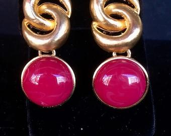 Cabachon Double Interlocking Circle Earrings