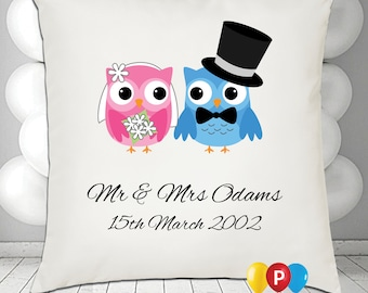 Personalised owl couple Cushion Cover • Great Gift