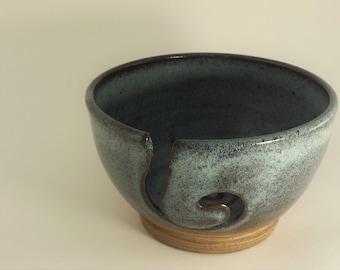 Handmade Ceramic Yarn Bowl in Soft Blue Glaze - Knitting Crocheting Accessory - Yarn Organizer - Holiday Gift for Fiber Freaks!