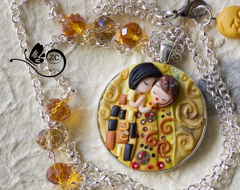 polymer clay necklace /art collection/ fimo / clay / polymerclay/ the kiss / klimt