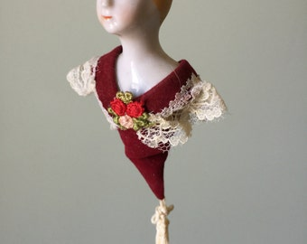 Hanging Porcelain Doll Victorian Lady Doll