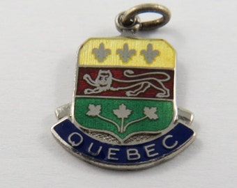Enameled Shield Charm of Coat of Arms For the Province of Quebec Canada Sterling Silver Charm or Pendant. BMCo.