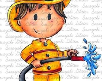 Fireman Shy by Sasayaki Glitter digital stamps, outline only
