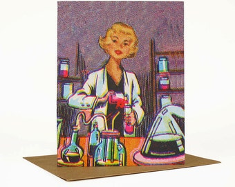 Scientist Greeting Card, Graduation Card, Congratulations, First Job, Quirky Whimsical Retro Vintage Collage Art Card, Encouragement Card