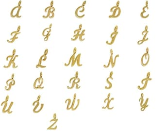 Add on Personalized Gold or Silver Script Letter Charm - Personalized Birthstone Initial Necklaces