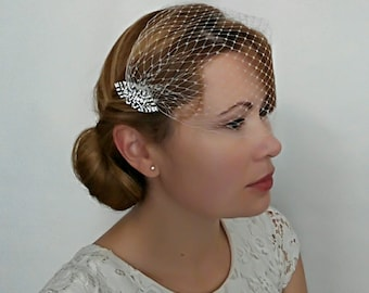 Art Deco Birdcage Veil Ivory or White Netting with 2 Art Deco Hair Comb Bridal Fascinator, Bandeau Veil, Bandeau Birdcage Veil, Detachable