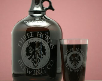 Custom beer growler and glass set with your logo.Homebrew, fathers day gift,custom pint,engraved pint, custom Beer Glass