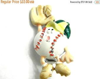 30% Off Sale Comical Sports Baseball and Glove Enamel JJ Jonette Pin Vintage