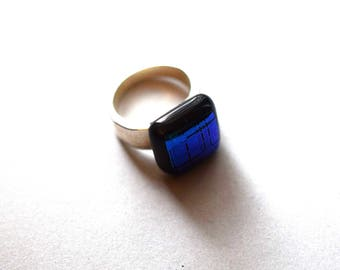Deep Blue Fused Dichroic Glass Ring  Silver Plated Size 6