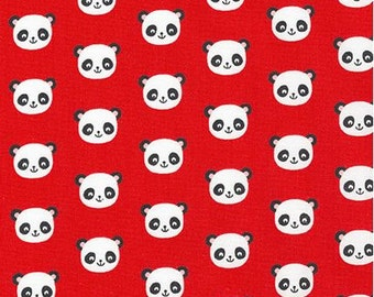 Mini Panda Heads on Red from Robert Kaufman's Urban Zoologie Mini Collection by Ann Kelle
