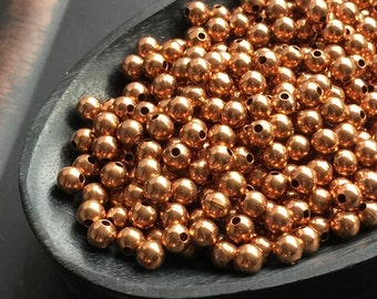 4mm Copper Beads Round Smooth Copper Ball Beads Package of 100 Pieces