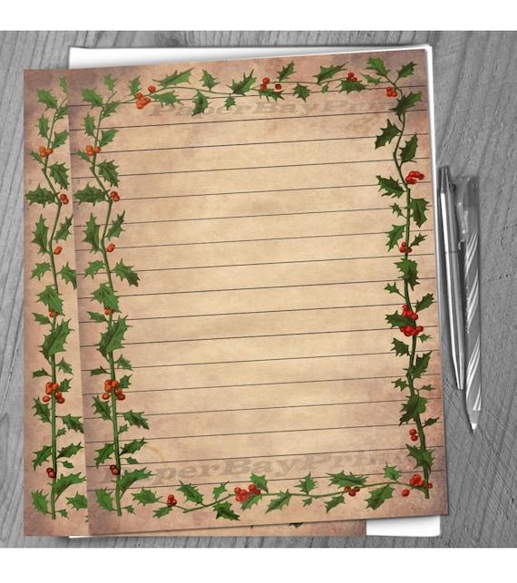 Papel para escribir imprimible, frontera del acebo de Navidad ...